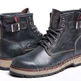 Кожаные зимние ботинки Clarks Desert Urban M - 1702 темно-синие