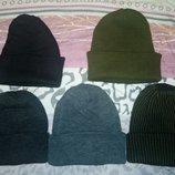 Шапочка мужская шапка двойная вязаная с отворотом разные цвета