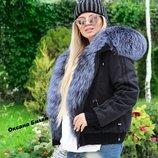 Бомбер парка с натуральным мехом чернобурки 70 см