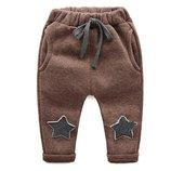 Очень теплые спортивные штаны на меху со звездами 80, 90, 100, 110, 120 см