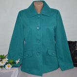 Брендовое бирюзовое демисезонное пальто полупальто с карманами damart