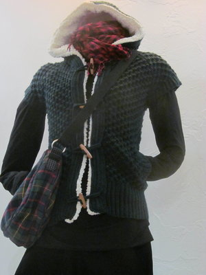 3a10925f65c Zara вязаный худи c короткими рукавами l темно-зеленый c белой опушкой.  Previous Next