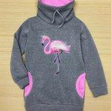 Свитшот удлиненный на флисе Розовый фламинго Размеры 104- 152
