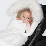 Зимний конверт-кокон на овчине Доречі Baby XS, белый с опушкой.