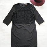 Платье Lipsy нарядное чёрное, по фигуре, кружево на верхней части, миди, рукав 3/4