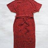 Платье Boohoo миди с поясом, с разрезами по низу по бокам, меланжевый трикотаж