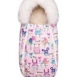 Зимний конверт-кокон на овчине Доречі Baby XS, рисунки на розовом фоне с опушкой