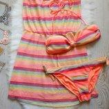 Яркий разноцветный купальник с накидкой в цвет батал большой размер с парео оранж розовый Ocean Club