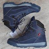 Ботинки мужские зимние кожаные берцы синие натуральный мех