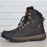 Ботинки мужские зимние кожаные до -30°C берцы черные натуральный мех