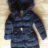 Пальто зима 158-170 чёрное синее
