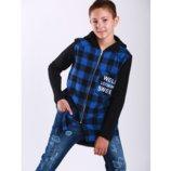 Рубашка тёплая Marions универсальная серая и синяя р.140-164