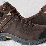 Экко зимние кожаные ботинки из кожи мех Ессо кроссовки коричневые