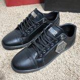 Кроссовки кожа Philipp Plein Lo-Top Sneakers Hexagonal Black черные