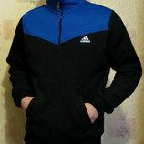 Толстовка Adidas теплая без капюшона на молнии - вставки электрик.