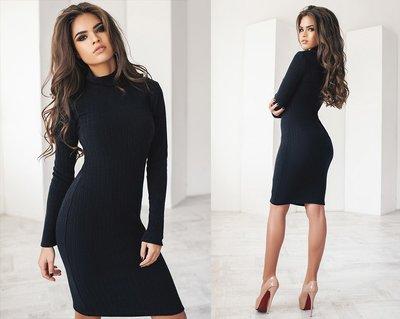 Лаконичное платье футляр Ангора-Рубчик 3 цвета миди длинный рукав классическое от р40 по р52