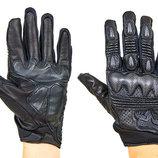 Мотоперчатки кожаные с закрытыми пальцами и протектором Fox 6802 кожа текстиль, M-L