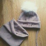 шапка ангора на завязках для девочки 0..7лет