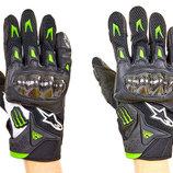 Мотоперчатки кожаные с закрытыми пальцами и протектором Monster 6804 кожа текстиль, M-L 2 цвета