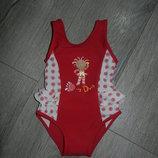 Германия Бордовый с рюшами купальник на девочку 9-12 месяцев/80 см, новый