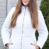 Теплая зимняя куртка, размеры 48-58, цвета белый, морволна, красный, фиолет