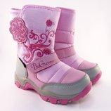 Зимние термо сапожки, зимние дутики для девочки Би Джи 161-3206, красивые зимние сапоги для девочки