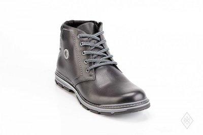 Ботинки зимние кожаные мужские 045 черные 40 р Bastion.