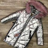Модное зимнее удлиненное стеганое Пальто