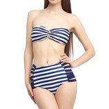 Женский купальник с высокой талией и полосатым принтом