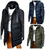 Удлиненная мужская теплая куртка