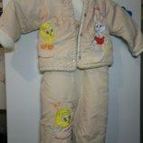 Демисезонный комплект, костюм для малыша или малышки.Полукомбинезон и курточка.