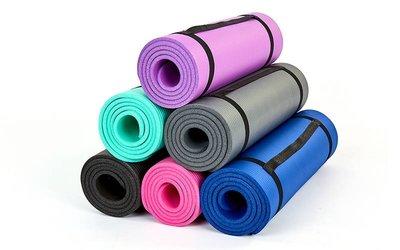 Коврик для фитнеса и йоги NBR 6986 толщина 10мм, размер 1,83х0,61м 6 цветов