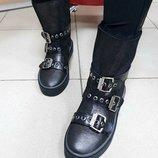 р. 36-41 Теплющие кожаные и замшевые зимние женские ботинки угги с пряжками ремешками угги UGG