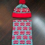 Новый обалденный яркий фирменный хлопковый набор,шапка и шарф