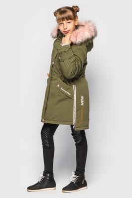Куртка парка хаки зимняя с красивым мехом -30% скидка