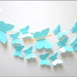 3D Наклейки на стену бабочка, на холодильник, мебель, в детскую комнату