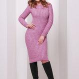 Модное теплое вязаное платье. Есть цвета