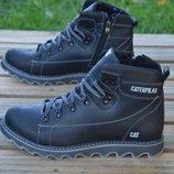 Мужские черные кожаные зимние ботинки Caterpillar