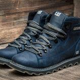 Мужские синие кожаные зимние ботинки Caterpillar Сат