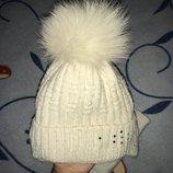 Набор шапка с бубоном песец шарф