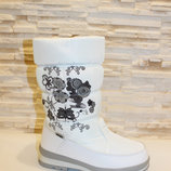 Сапоги дутики женские зимние белые С647