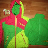 Акция до 25.10 Термо лыжная куртка 3в1 с флиской для девочек, 92-98 104 , Венгрия