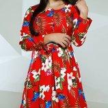 Платье цветочное креп-костюмка хл размеры 48-54 скл.1 арт.46490