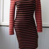 Платье облегающее фактурное, в полоску, деми H&M
