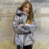 Детская деми куртка серебро