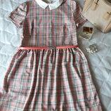 Клетчатое платье, платье в клетку с воротником, сарафан, платье, платье в клетку