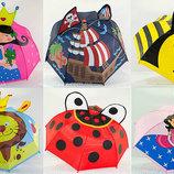 Детский 3Д зонт зонтик с ушками рожками для мальчика и девочки