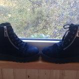Зимние замшевые ботинки на подошве трактор шнуровка, молния 36-37 размер
