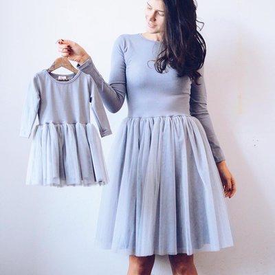 Комплект пышных платьев фемели лук мама дочка с фатином тренд 2019г