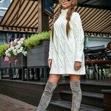 Вязаное платье,женское платье вязаное,вязаный свитер,женский свитер под горло